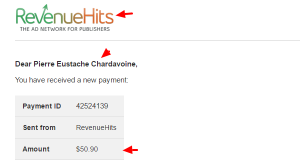 revenuehits payment received via Payoneer
